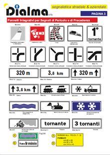Pannelli integrativi per segnali di pericolo e di precedenza