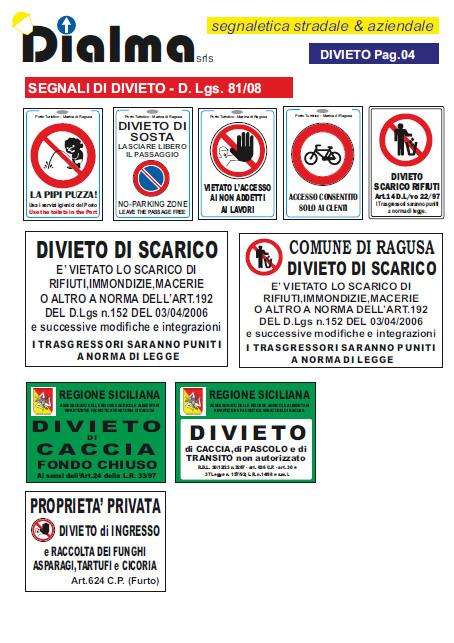 Segnaletica stradale ed Aziendale, segnali di divieto