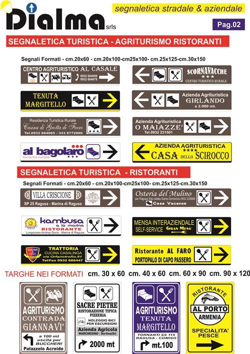 segnaletica turistica per strutture ricettive, ristoranti, agriturismi